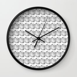 Sketched cat pictured tiled pattern Wall Clock