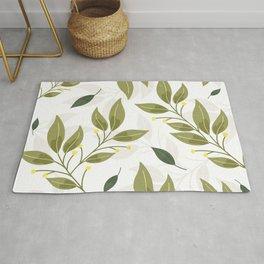 Botanical Floral Leaf Pattern Rug