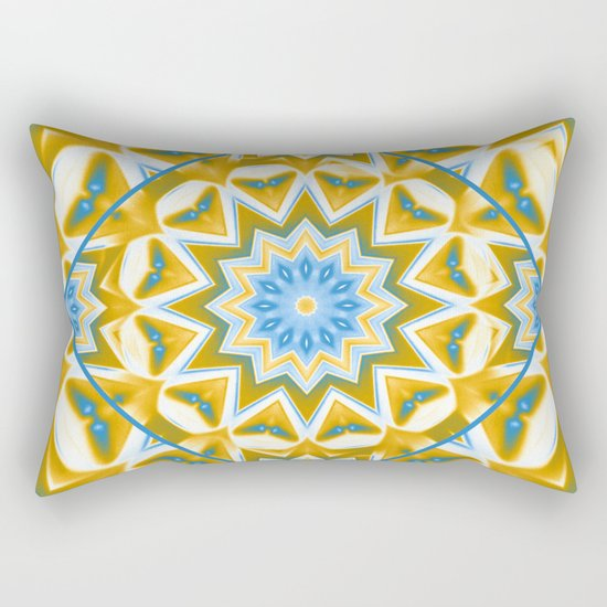 Wheel cover kaleidoscope in blue and gold Rectangular Pillow