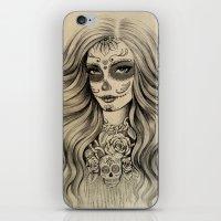 sugar skull iPhone & iPod Skins featuring Sugar Skull by Vivian Lau