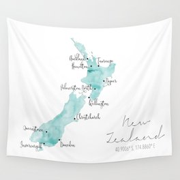 New Zealand Labelled Map // Turquoise Watercolour Wall Tapestry