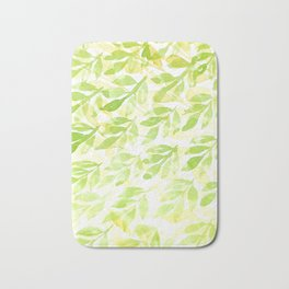 Watercolor green and yellow leaves pattern Bath Mat