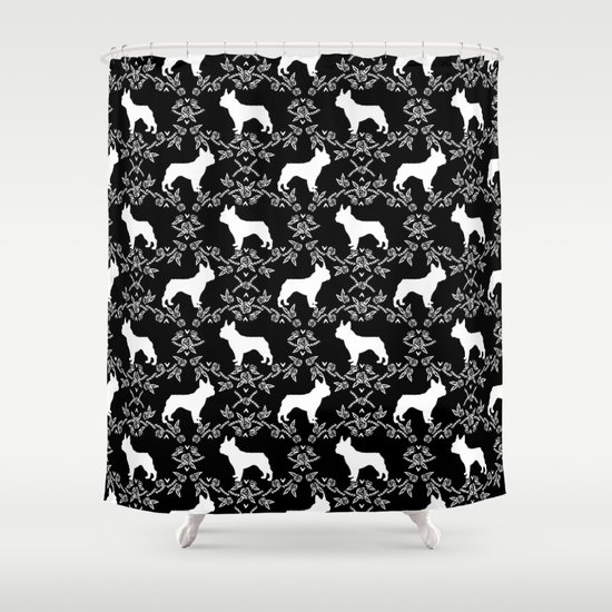 French Bulldog Floral Minimal Black And White Pet Silhouette Frenchie Pattern Shower Curtain By