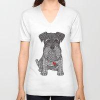 schnauzer V-neck T-shirts featuring Spunky - Schnauzer by DiAnne Ferrer