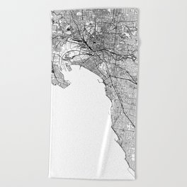 Melbourne White Map Beach Towel