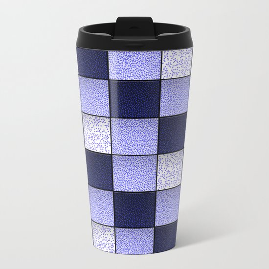 Blue Spotty Tiles Metal Travel Mug