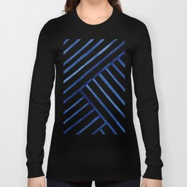 Watercolor lines pattern   Navy blue Long Sleeve T-shirt