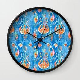 electric blue balinese ikat mini Wall Clock