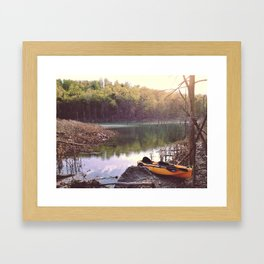 Exploring the lake, looking for new places. Framed Art Print