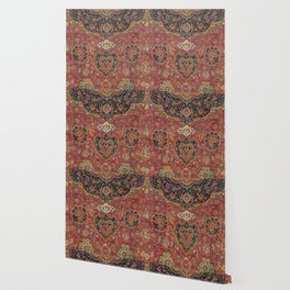 Persian Medallion Rug VII // 16th Century Distressed Red Green Blue Flowery Colorful Ornate Pattern Wallpaper