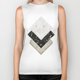 Scandinavian Geometric | Black Gold White Marble Biker Tank