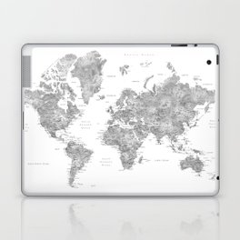Grayscale watercolor world map with cities Laptop & iPad Skin