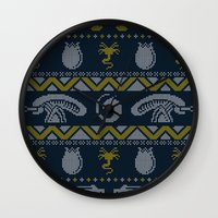 xenomorph Wall Clocks featuring A Christmas Bug Hunt by Stationjack