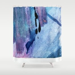 Pull: an abstract mixed media piece in blues, purple, black, and white Shower Curtain