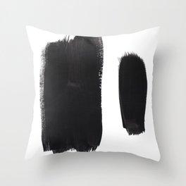 Black And White Minimalist Mid Century Abstract Ink Art Minimal Brush Strokes Black Color Block Throw Pillow