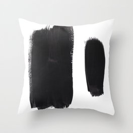 Black And White Minimalist Mid Century Abstract Ink Art Minimal Brush Strokes Black Color Block Throw Pillow