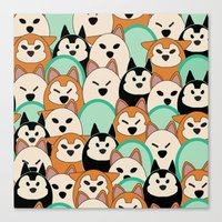 shiba inu Canvas Prints featuring Shiba Inu by Modify New York