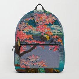 Tsuchiya Koitsu Cherry Blossom Pagoda Woman In Kimono Lake At Twilight Backpack