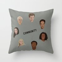community Throw Pillows featuring Community Simple by mycolour