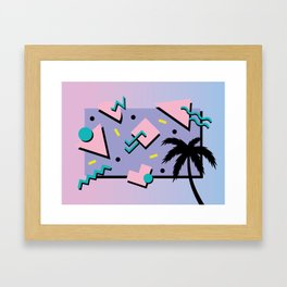 Memphis Pattern 25 - Miami Vice / 80s Retro / Palm Tree Framed Art Print