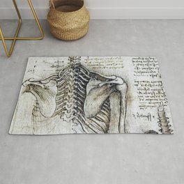 Leonardo Da Vinci human body sketches - skeleton Rug