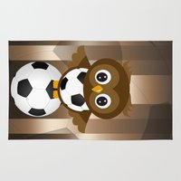 soccer Area & Throw Rugs featuring Soccer Owl by Simone Gatterwe