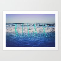 relax Art Prints featuring Relax by Leah Flores
