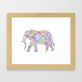 Elephant Flower Doodle Framed Art Print