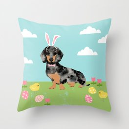 Dachshund dog breed easter pet portrait dog breed gifts pure breed dachsie doxie dapple Throw Pillow