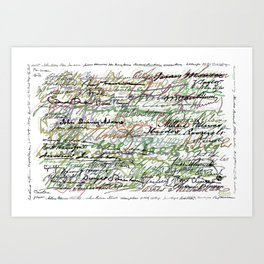 All The Presidents Signatures Green Sepia Art Print