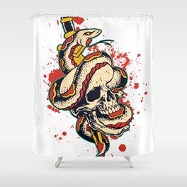Skull and Snake Flash Art Shower Curtain