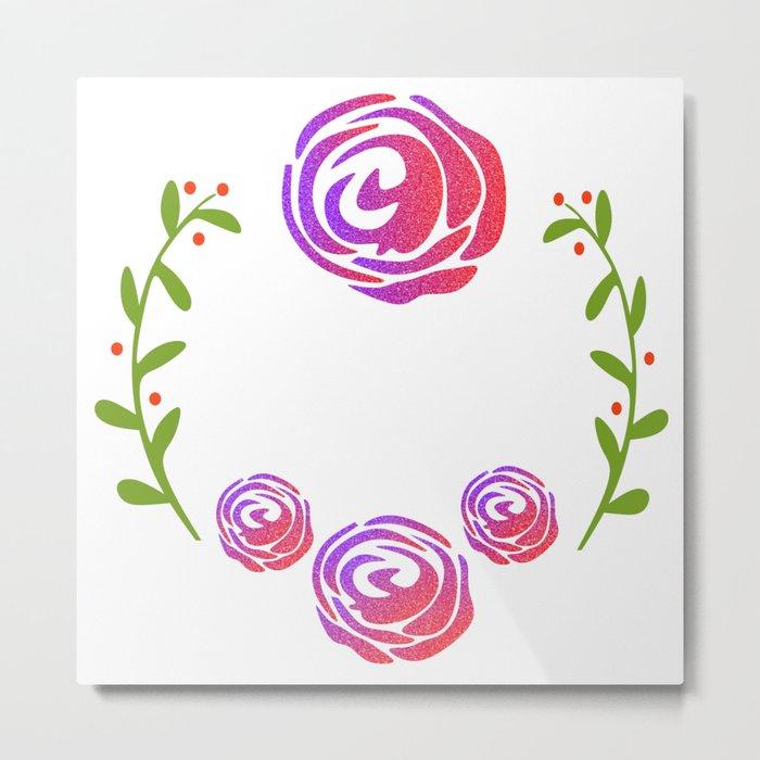 Floral Round Metal Print