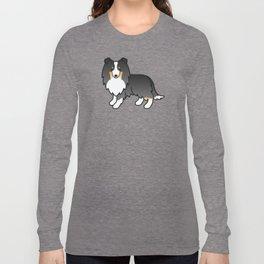 Tricolor Shetland Sheepdog Dog Cartoon Illustration Long Sleeve T-shirt