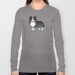 Tricolor Shetland Sheepdog Dog Cartoon Illustration Long Sleeve T-shirt