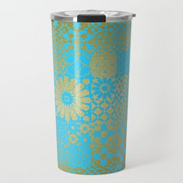 Moroccan Nights - Gold Teal Mosaic Pattern - Mix & Match with Simplicity of Life Travel Mug