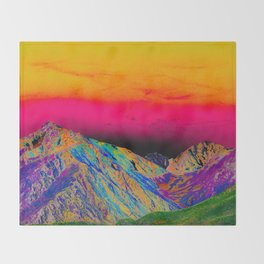 California's Sierra Mts-Digital Art, Green & Purple Throw Blanket
