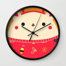 Merry Christmas Bear Wall Clock