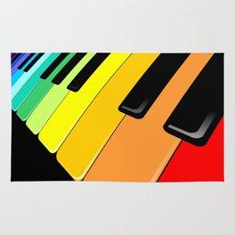 Piano Keyboard Rainbow Colors  Rug