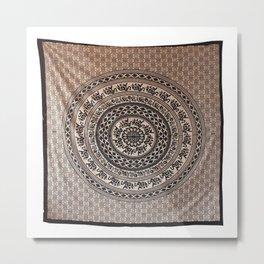 Cotton Elephant Printed Hippie Tapestry Metal Print