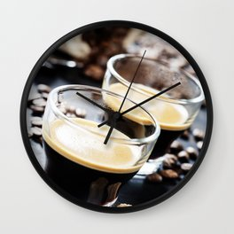 Cups of Espresso on dark rustic background Wall Clock