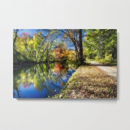 Bright Autumn Day at the D & R Canal, Princeton, New Jersey Metal Print