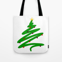 Minimalist Green Christmas Tree Doodle with Ornaments and Star Tote Bag
