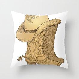Vintage Retro Cowboy Hat Cowboy Boots Gift Throw Pillow