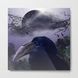 Spooky night, mixed media art with birds Metal Print