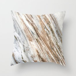 Marble Slab Texture // Gold Silver Black Gray White Stripes Luxury Rugged Rustic Rock Throw Pillow