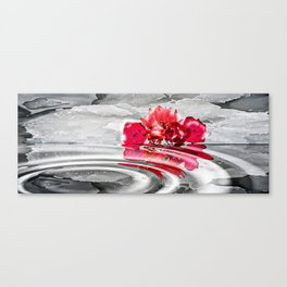 Snowy Flowers Reflections Canvas Print