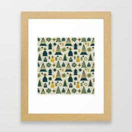 christmas trees gold Framed Art Print