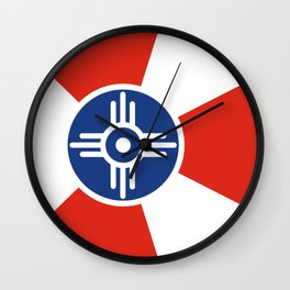 Wichita Kansas city flag united states of america Wall Clock