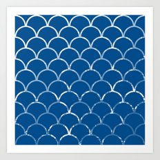 Textured large scallop pattern in snorkel blue Art Print