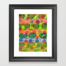 Round Shapes within and above horizontal Stripes Framed Art Print